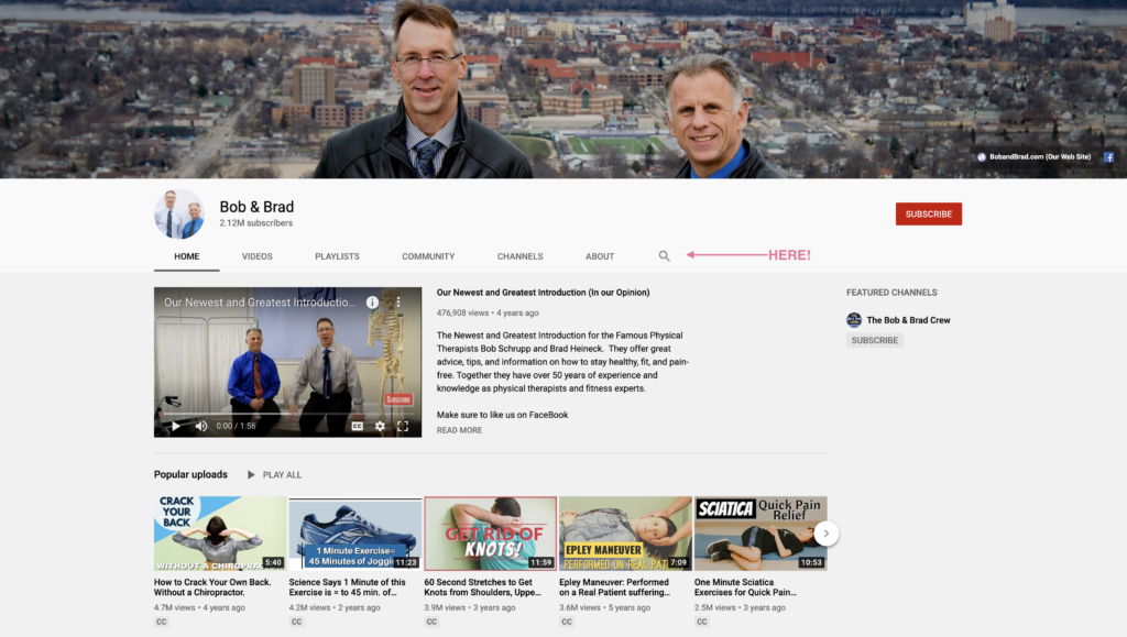 Youtube page screen grab